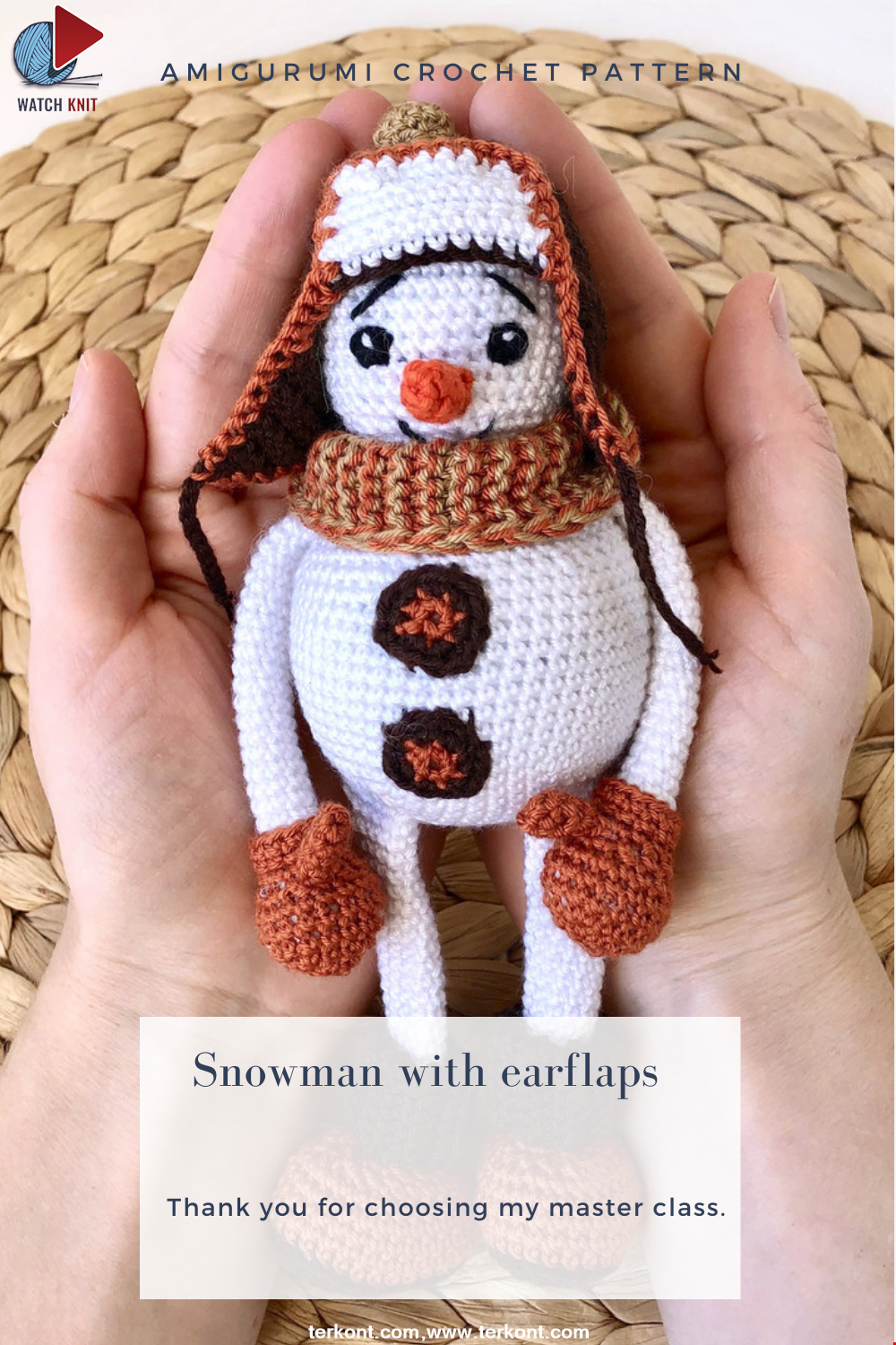 Snowman in a hat with earflaps
